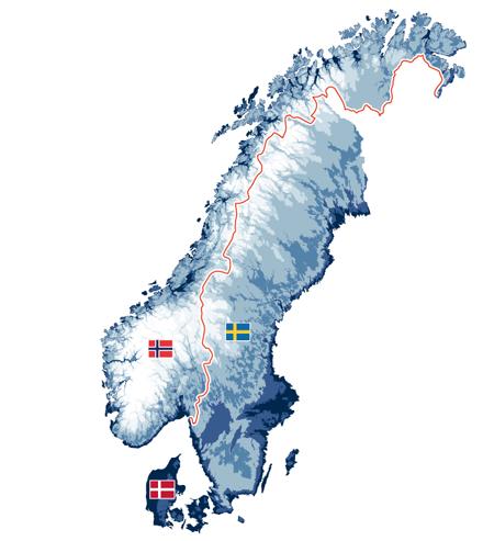 Die skandinavischen Staaten Norwegen (ohne Spitzbergen), Schweden und Dänemark (ohne Färoer Inseln und Grönland).