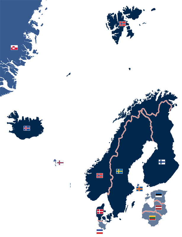 Mitgliedsstaaten, assoziierte Mitglieder und Beobachterstaaten des Nordischen Rats