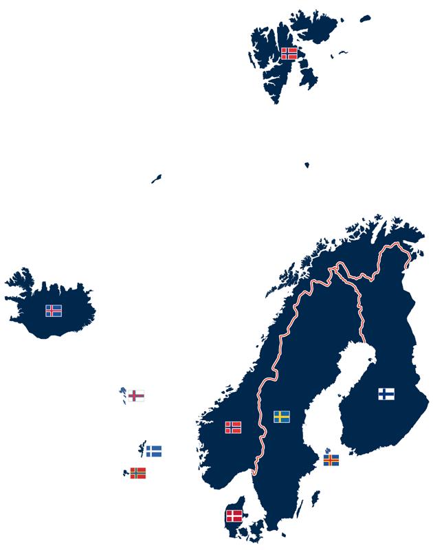 Staaten und autonome Gebiete mit Flaggen mit Skandinavischem Kreuz.