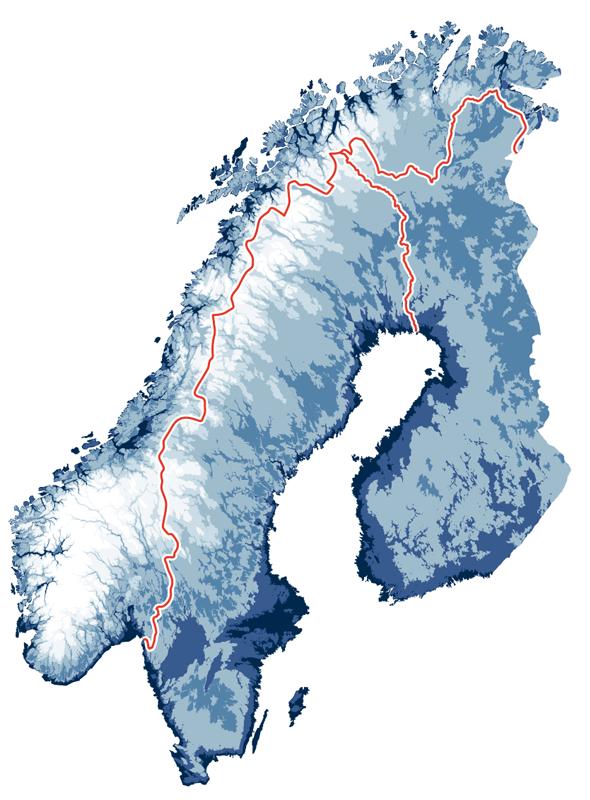 Areal der Landkarte der SKI RESORTS OF SCANDINAVIA mit Norwegen, Schweden und Finnland.
