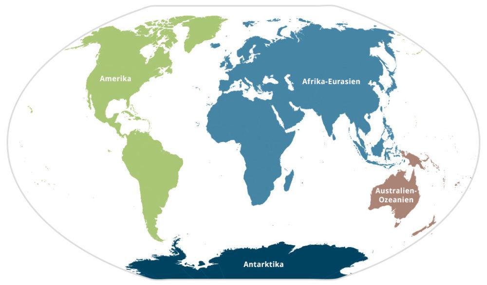 Die Erde mit vier Kontinenten - Amerika, Afrika-Eurasien, Australien-Ozeanien und Antarktis