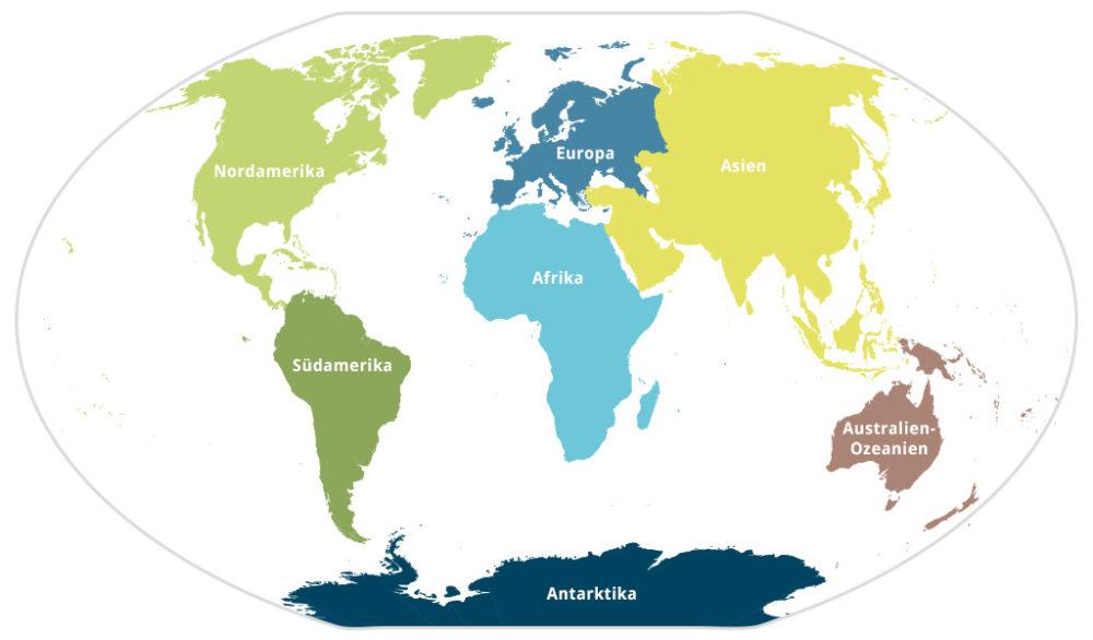Übliche Einteilung der Landmassen der Erde in sieben Kontinenten - Nordamerika, Südamerika, Europa, Afrika, Asien, Australien-Ozeanien und Antarktis