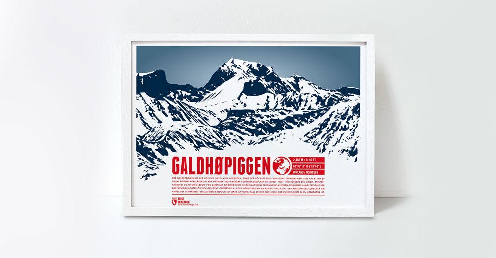 Galdhøpiggen - der höchste Berg Norwegens und Skandinaviens, illustriert von Marmota Maps