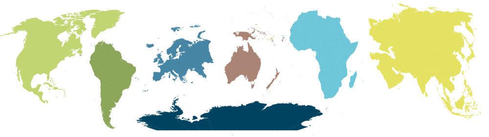 7 Kontinente der Erde - Nordamerika, Südamerika, Europa, Australien-Ozeanien, Afrika, Asien und Antarktis