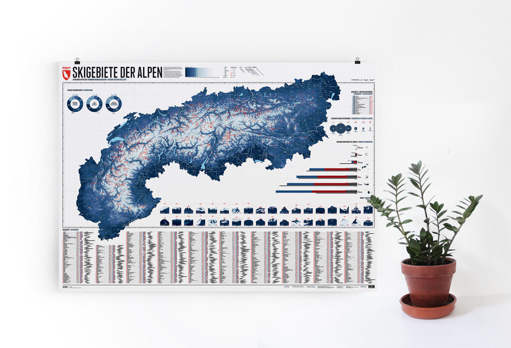 Skigebiete der Alpen - mehr als 600 Skigebite im gesamten Alpenraum mit einer Gesamtpistenlänge ab 5 Kilometer auf einer Karte.