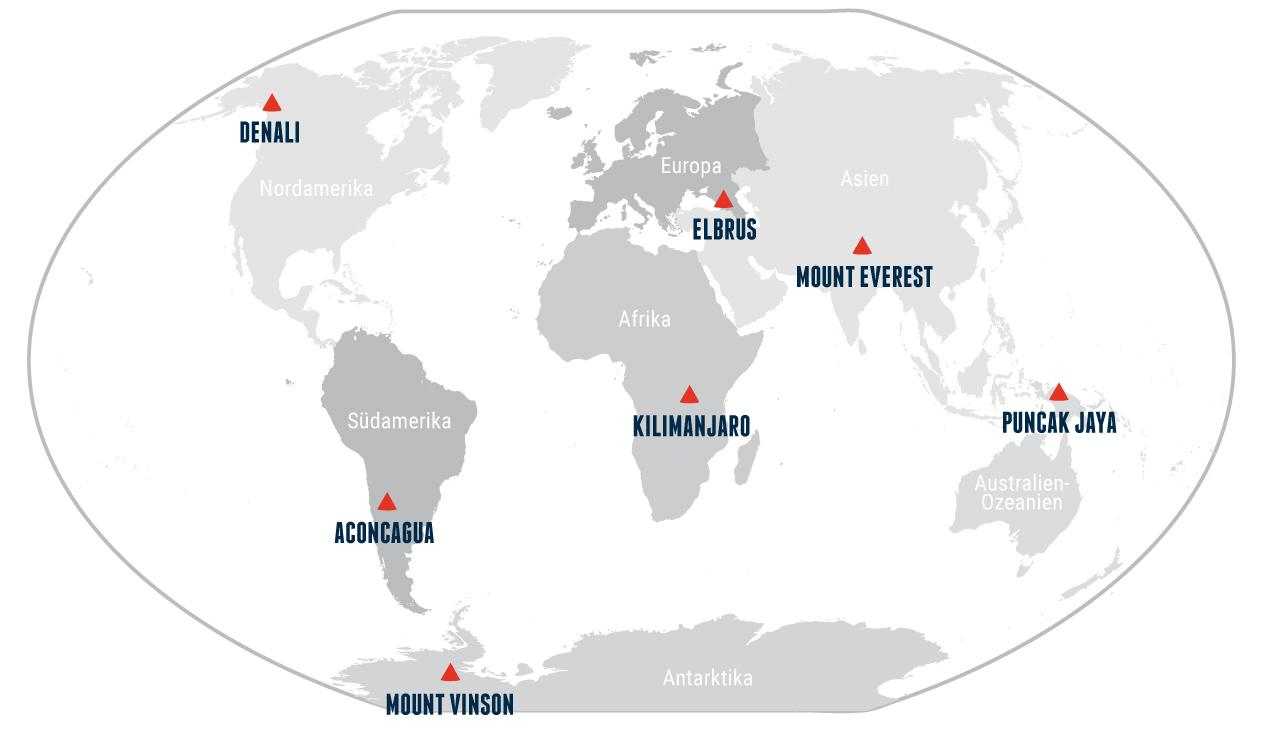 Geografische Position der Seven Summits auf der Erde