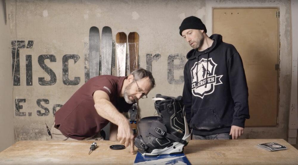 Snowboardbindung montieren