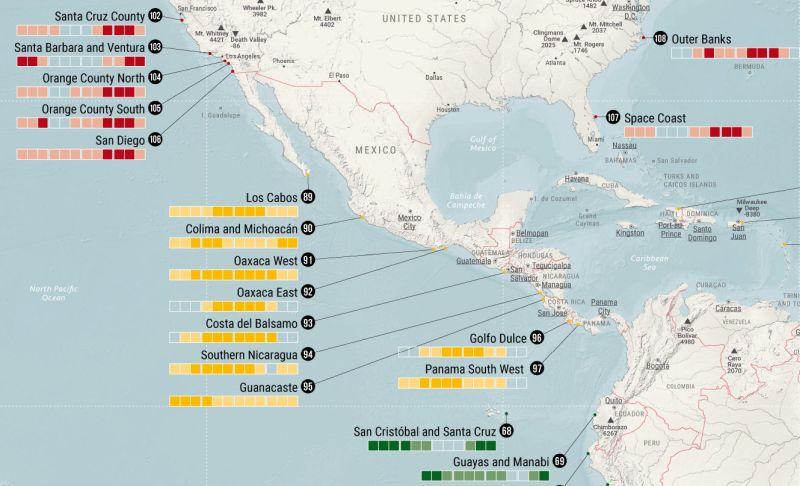 Weltkarte Surfing Worldwide mit Übergang von Nordamerika, über Mittelamerika und Karibik nach Südamerika