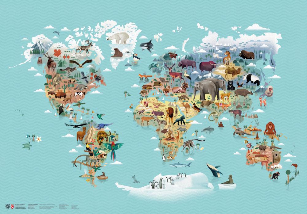 Weltkarte Die Welt der Tiere - illustriert von Dieter Braun