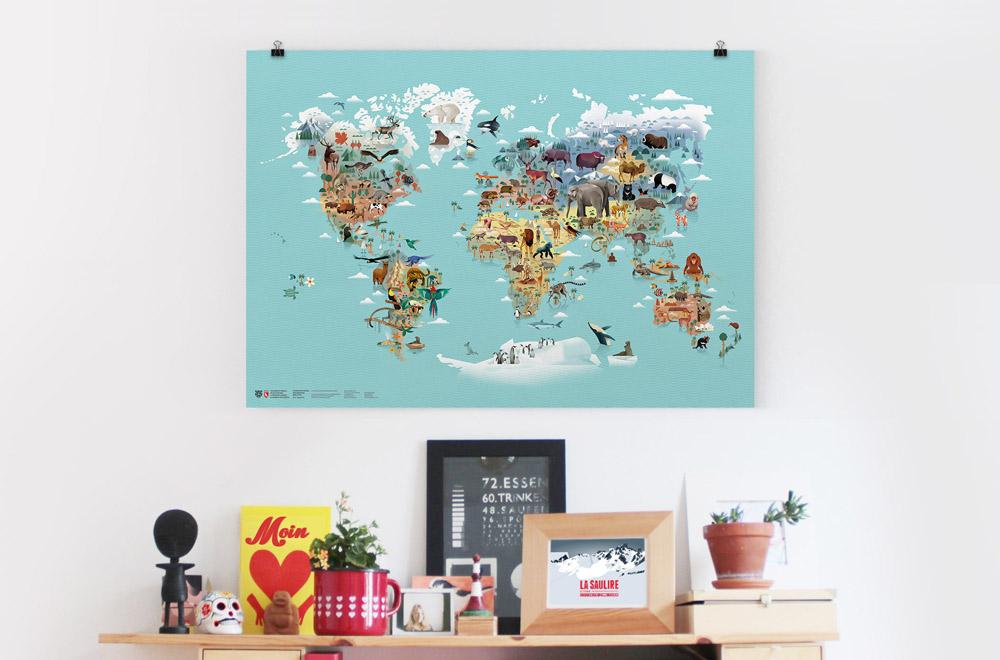 Weltkarte der Tiere - illustriert von Dieter Braun