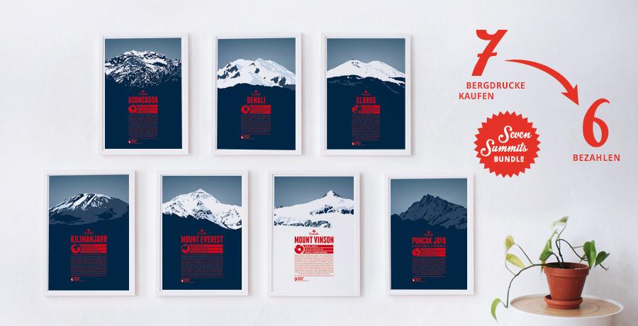 Seven Summits-Bundle - 7 Bergdrucke der höchsten Berge der Kontinente zum Preis von 6