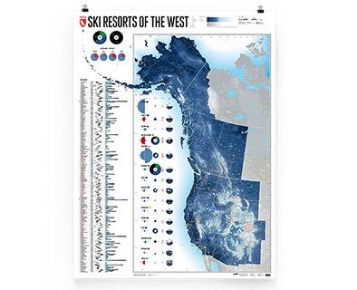 Ski Resorts of the West - alle Skigebiete im Westen Kanadas und der USA auf einer Karte