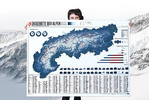 Skigebiete der Alpen - Landkarte mit über 600 Skigebieten im gesamten Alpenraum.