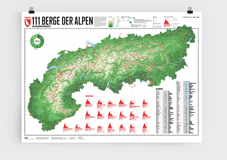 A map of the alps with 111 mountains and 20 trails - Marmota Maps