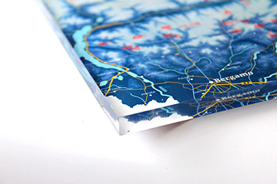 Ski resort map on 8 mm acrylic glass