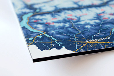 Ski resort map on aluminium composite