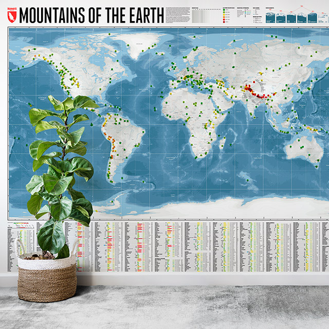 Wandkarte Mountains of the Earth als Tapete