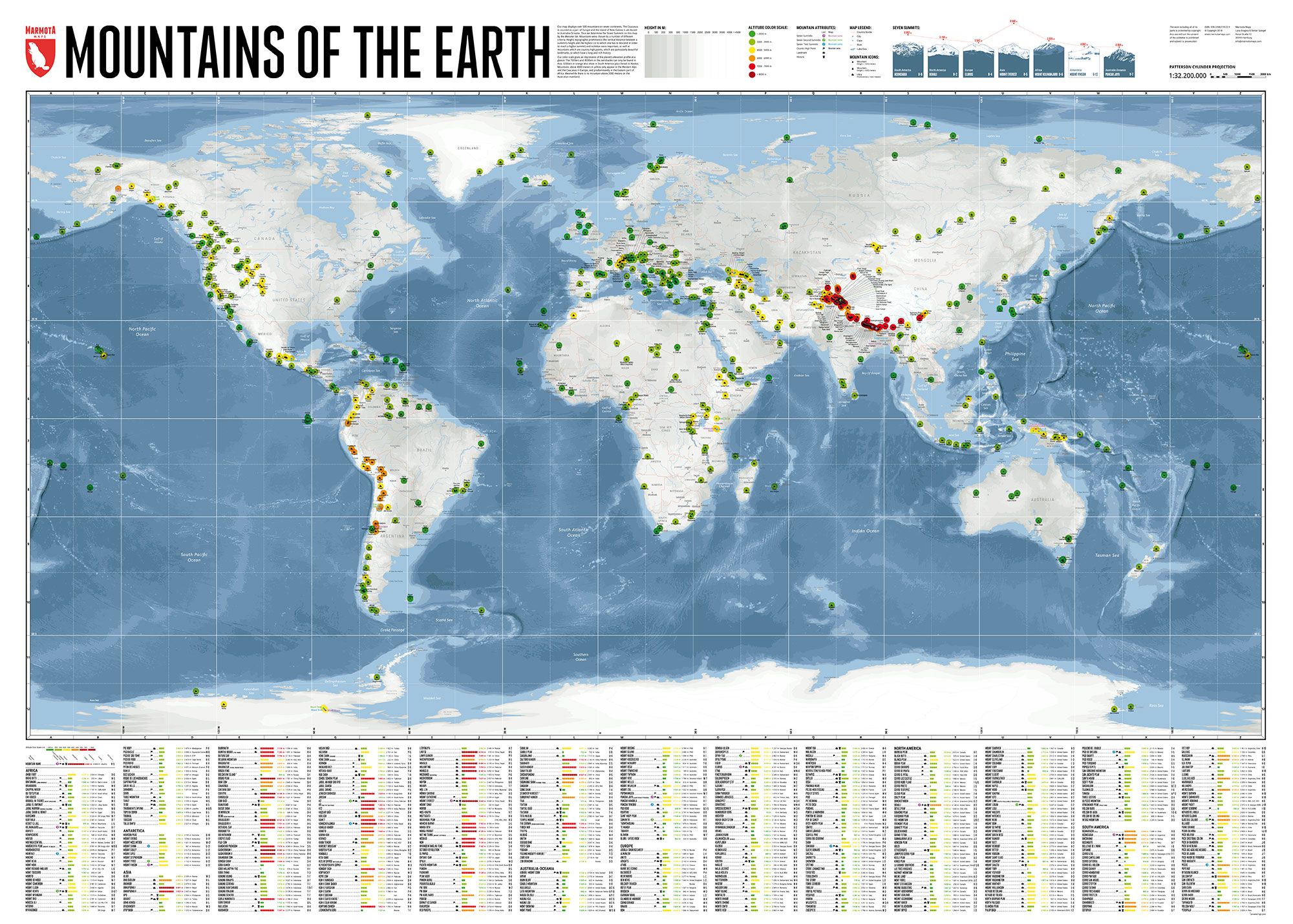 Mountains of the Earth - world map - Marmota Maps