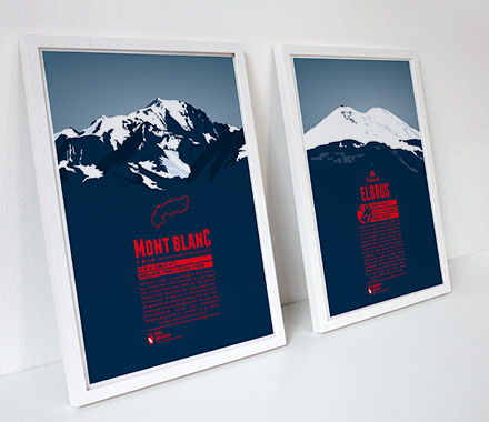 Mont Blanc and Elbrus - framed prints