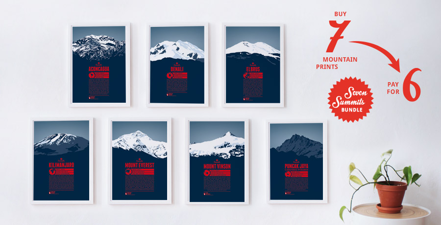 Seven Summits mountain prints bundle