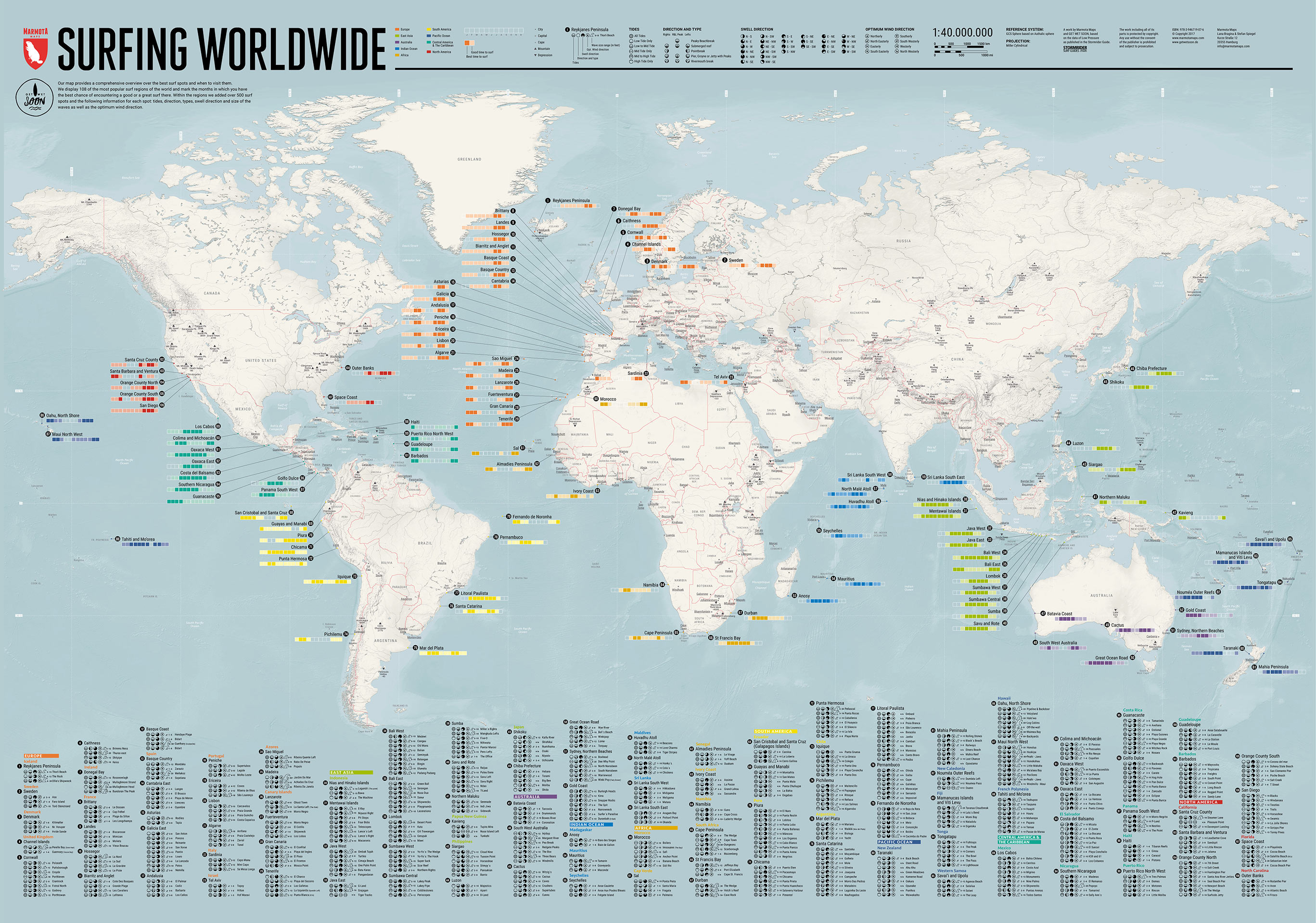 Surfing Worldwide - Weltkarte - Marmota Maps