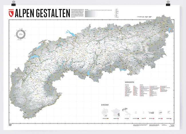 Wandkarte Alpen Gestalten Marmota Maps